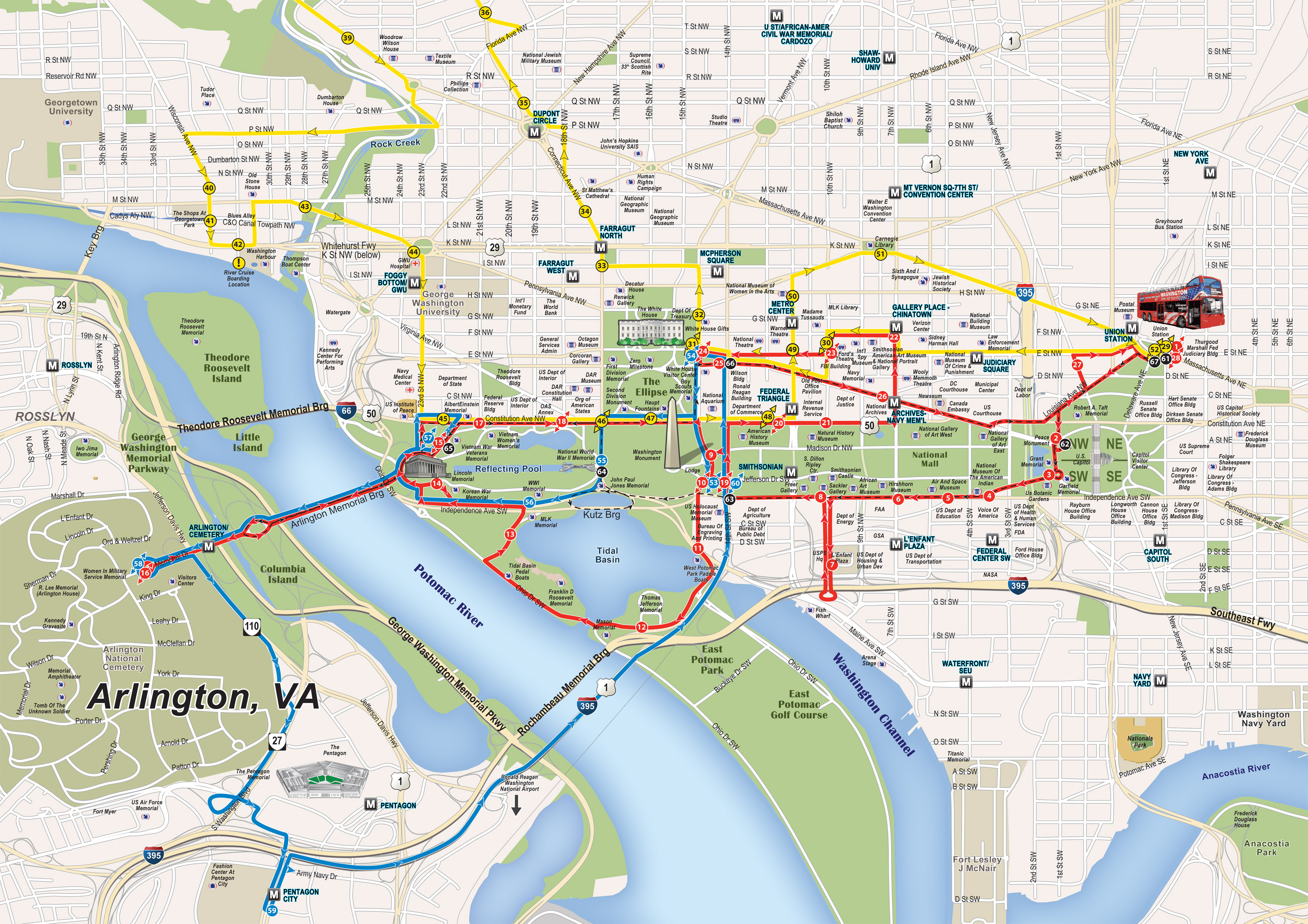 Washington DC Open Top Sightseeing Bus Tour – Tourist Map of Dc