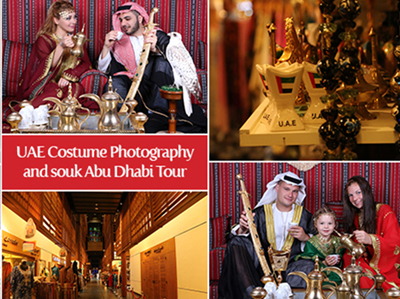 UAE Costume Photography Experience  & Central Market Souk Walking Tour from Abu Dhabi