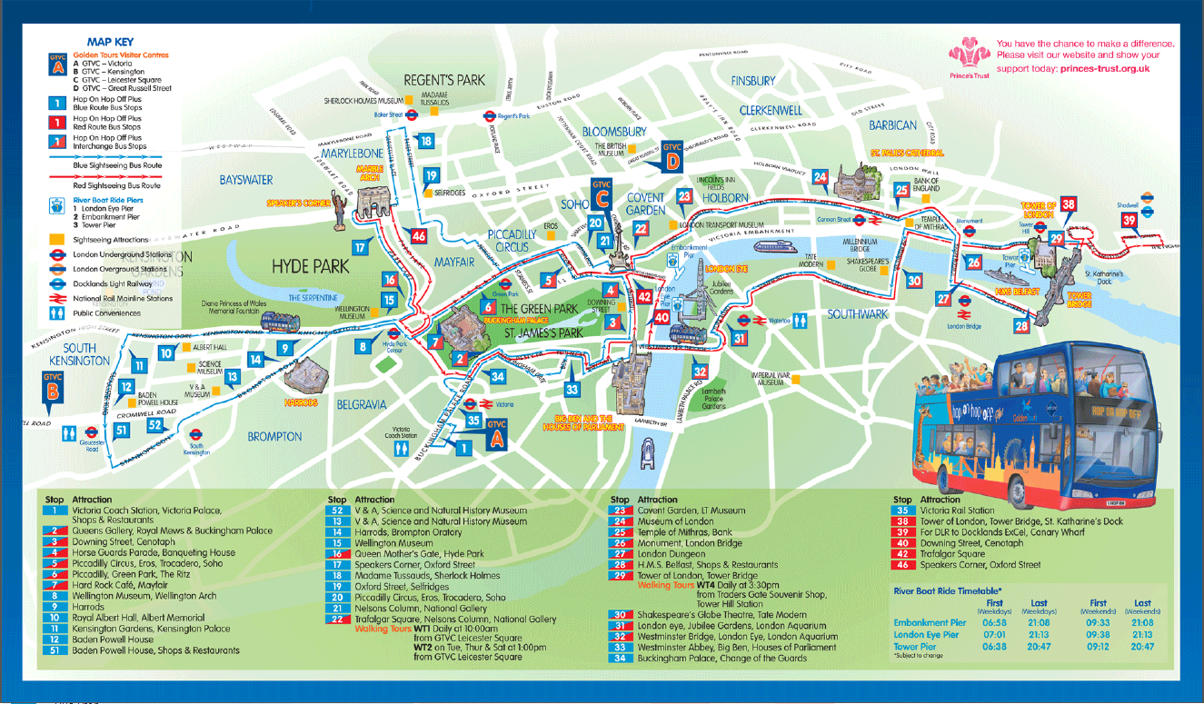 London Panorama 3 Hour Open Top Bus Tour – Map Of Tourist Attractions In London