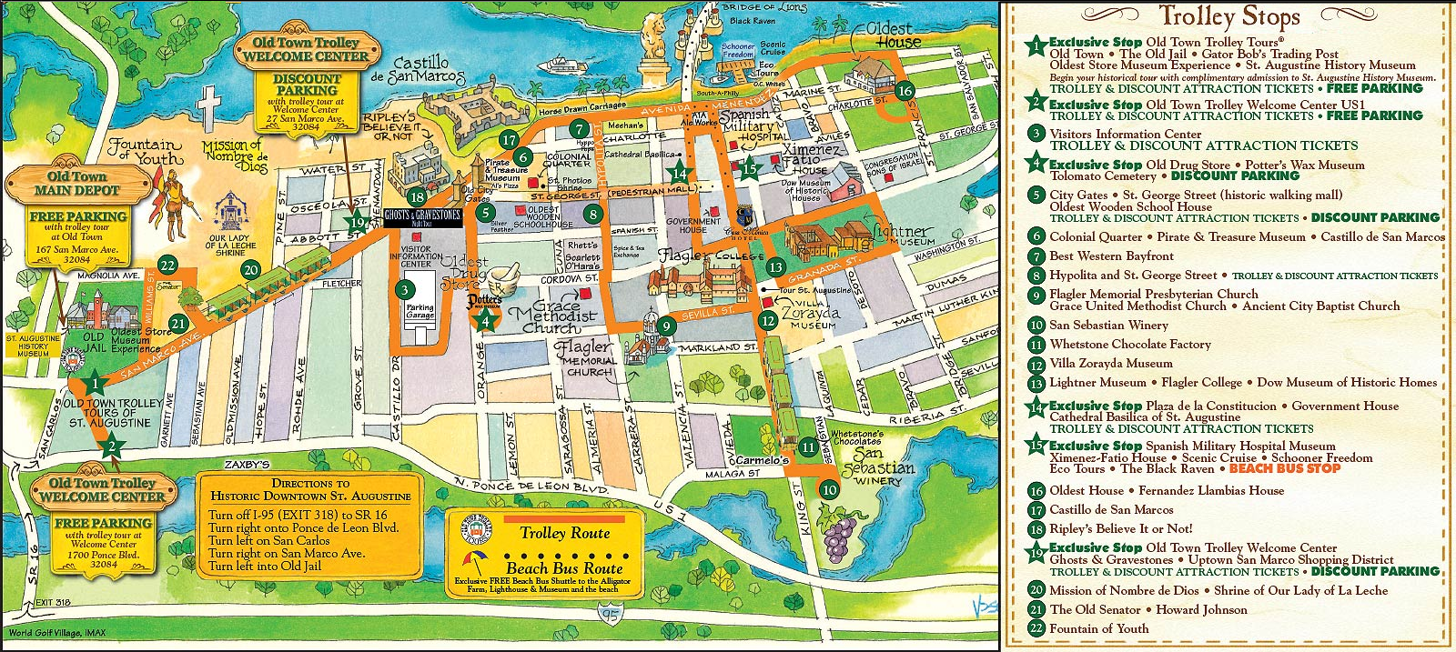 1Day St Augustine Old Town Trolley Tour – St Augustine Tourist Attractions Map