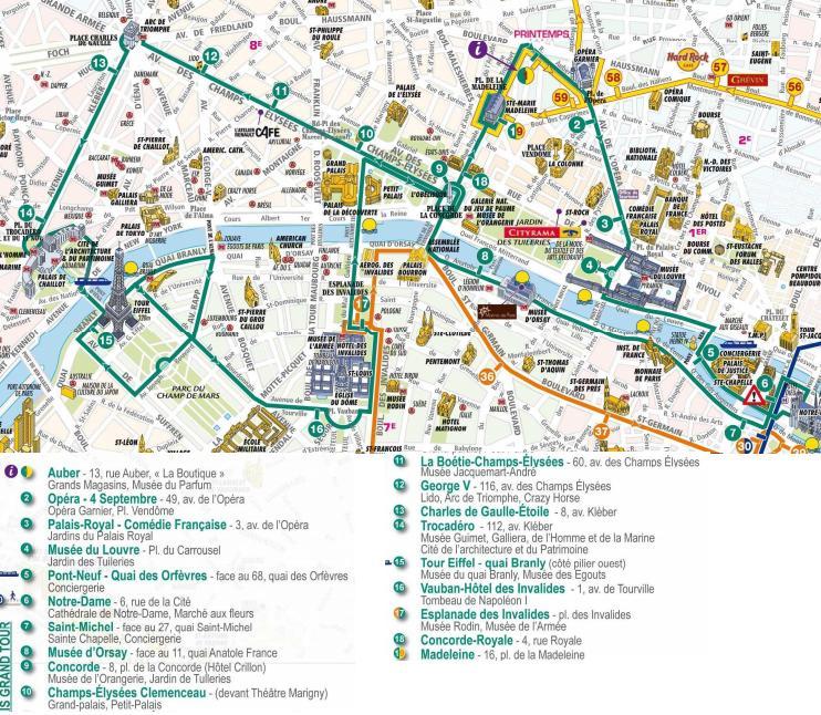 Lopen Tour Paris Map.Paris Hop On Hop Off Lopen Tour Taketours